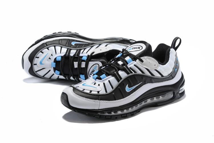 1cd7b69c95cd Nike Air Max 98 White Hyper Cobalt Black Metallic Silver 640744 102 Men s  Running Shoes