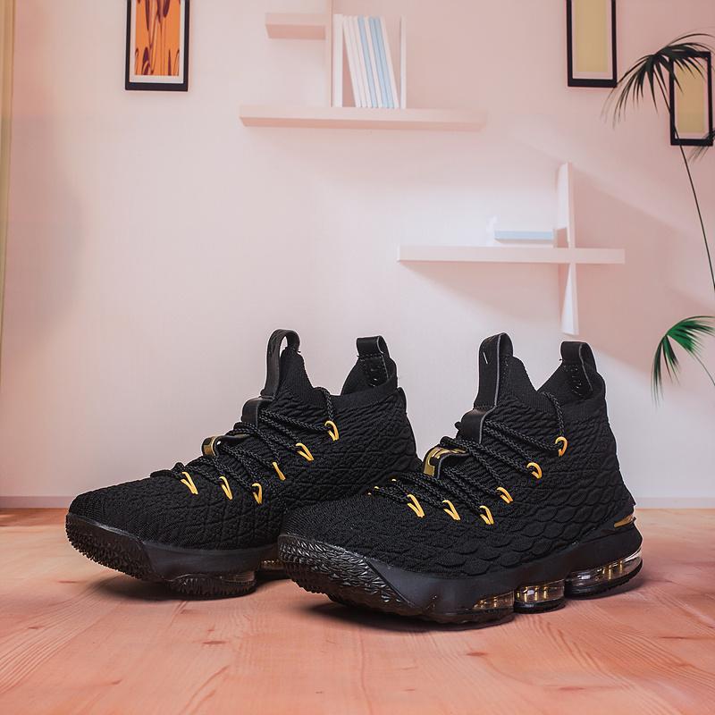 5b7e86bf12d Nike Lebron 15 XV Black Gold Men s Basketball Shoes NIKE-ST002991 ...