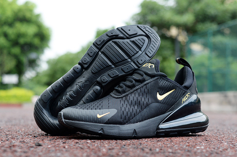 new arrival 70c1d b9ed2 Nike Air Max 270 Black Gold Men's Casual Shoes NIKE-ST002967