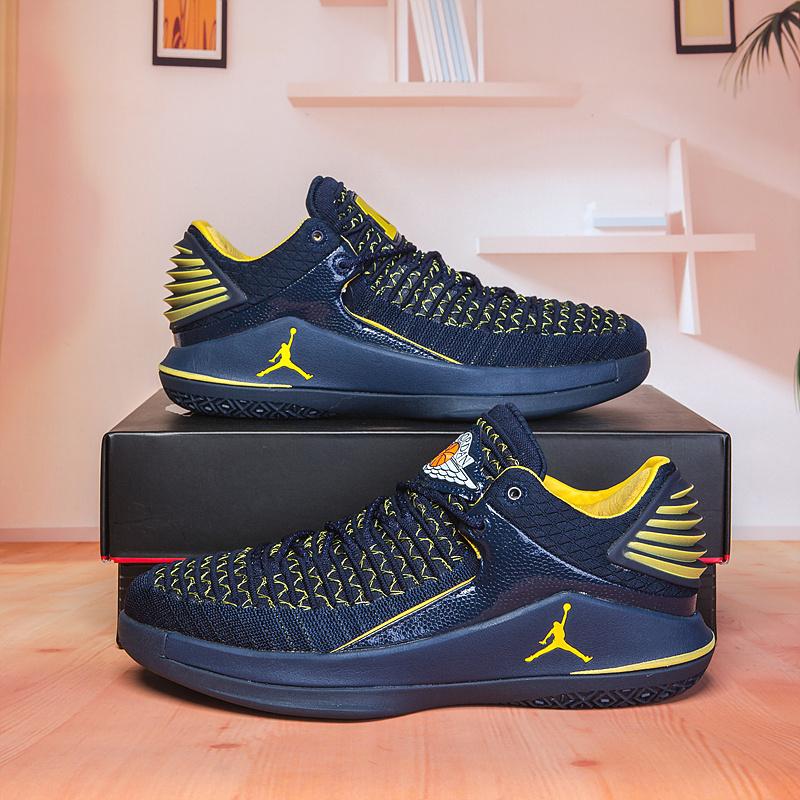 bf98a7e2010 Air Jordan 32 XXXII Low Navy Blue Yellow Men s Basketball Shoes NIKE ...