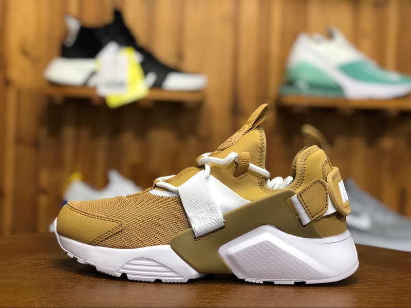innovative design 45488 0b4d0 Nike Air Huarache City Low Elemental Gold White AH6804 700 Women s Casual  Shoes