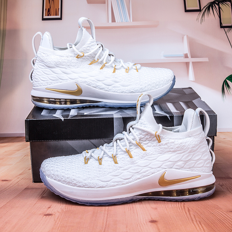 sale retailer 03a64 1f4f3 Nike Lebron James 15 XV Low White Gold Men's Basketball Shoes NIKE-ST003201