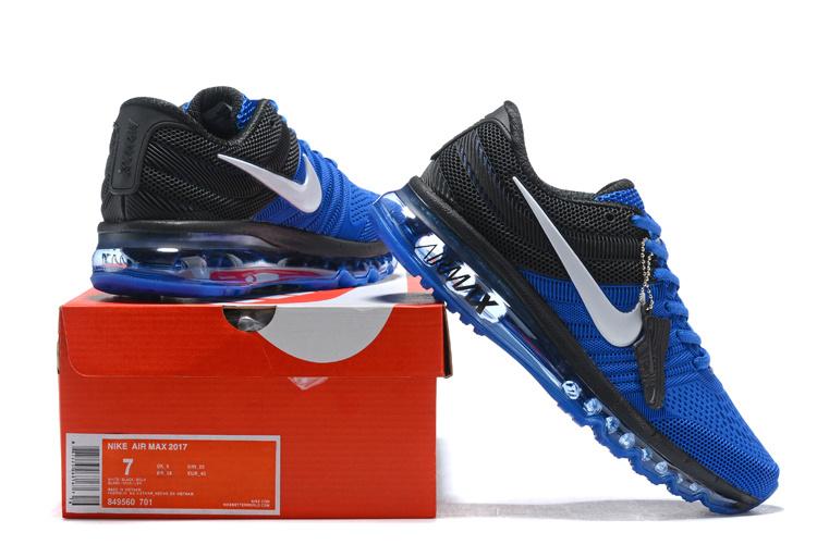 new concept ee851 8f8e2 Nike Air Max 2017 KPU Royal Blue Black White 849560 701 Men's Running Shoes  849560-701A