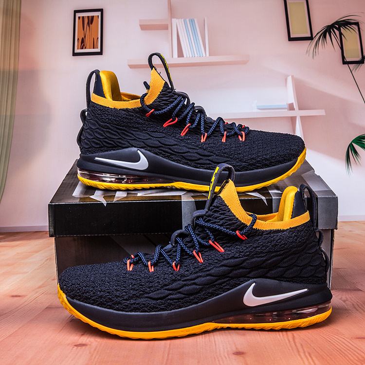 half off 95fc2 d7cf4 Nike Lebron James 15 XV Low Navy Blue Yellow White Men's Basketball Shoes  NIKE-ST003204