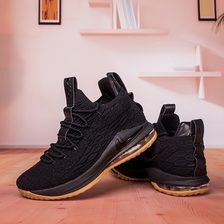 huge discount b1cd4 d6403 Nike Lebron James 15 XV Low Black Gum Men's Basketball Shoes NIKE-ST003202