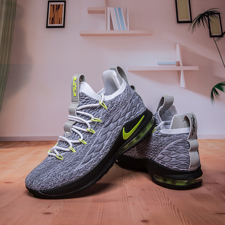 save off 61bce f3fc1 Nike Lebron James 15 XV Low Cool Grey Green Men's Basketball Shoes  NIKE-ST003209