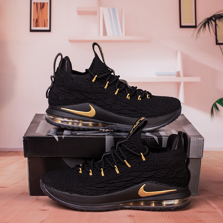09b422577b6 Nike Lebron James 15 XV Low Black Gold Men s Basketball Shoes NIKE ...