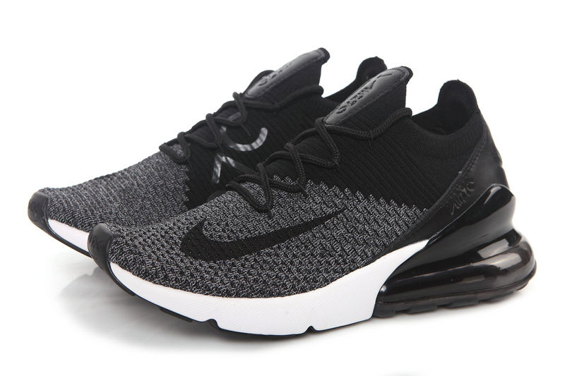 Nike Air Max 270 Flyknit Dark Grey Black White AO1023 001 Men s Casual Shoes 45e7a1469