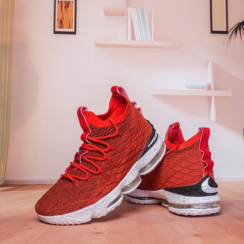 timeless design fe91d 8f1cd Nike Lebron 15 XV Solar Red Black White Men's Basketball Shoes NIKE-ST003245