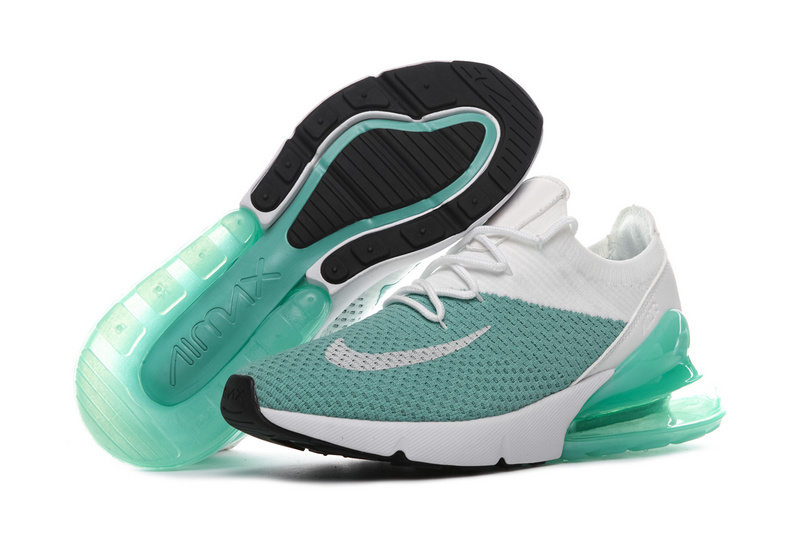 Nike Air Max 270 Flyknit White Clear Green Women s Men s Casual ... 0335a9863