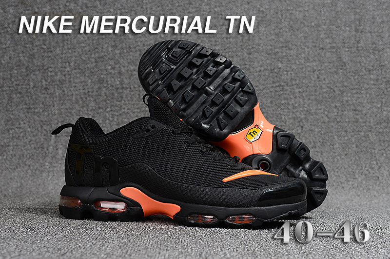 sports shoes 4e6d9 2aa6d Mens Nike Mercurial TN KPU Black Orange Running Shoes NIKE-ST003395