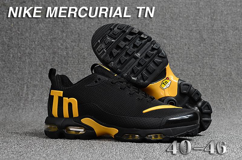 big sale 7f1be 48af2 Mens Nike Mercurial TN KPU Black Gold Running Shoes NIKE-ST003394