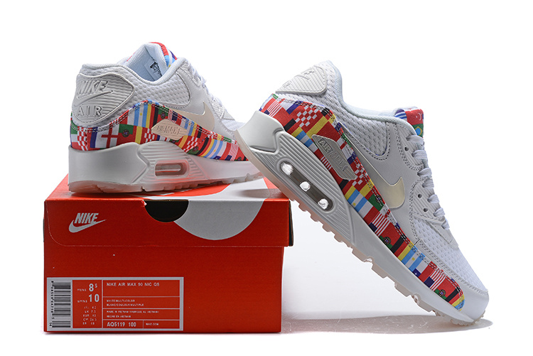 ea42bb6a4d Nike Air Max 90 NIC QS International Flag White Multi-color AO5119 100 ...