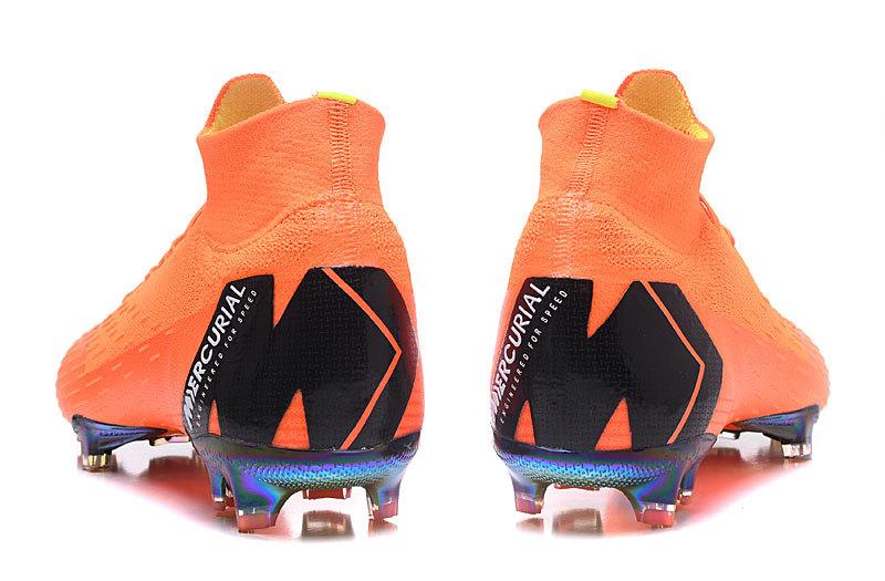 detailed look c344a 6b3fe Nike Mercurial Superfly VI Elite FG Flyknit 360 Orange Black Men's Soccer  Cleat Shoes NIKE-ST003062