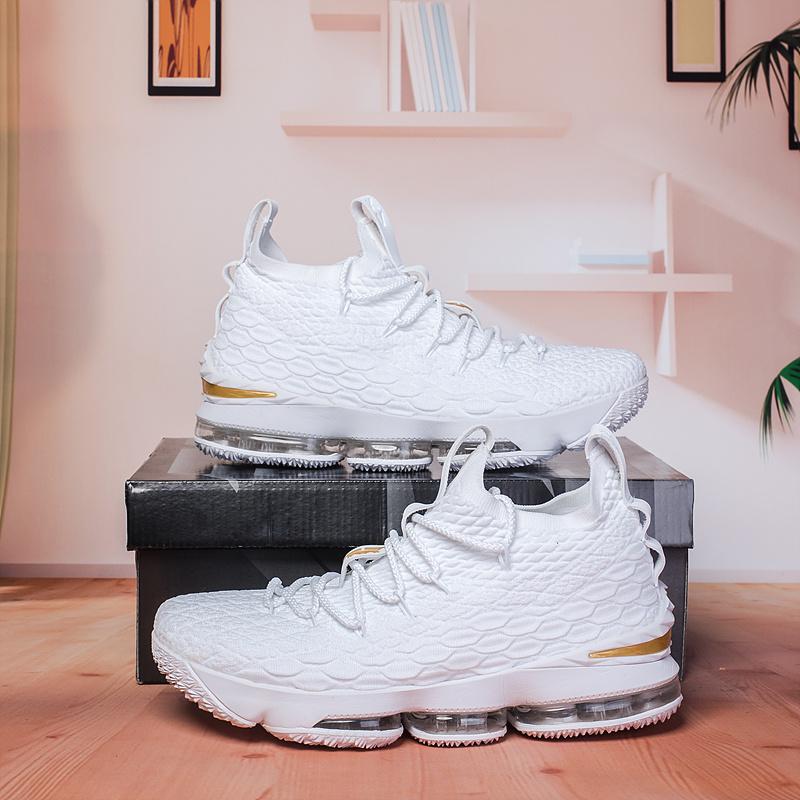 Nike Lebron 15 White Gold Men s Basketball Shoes NIKE-ST002980 ... 425838eb4