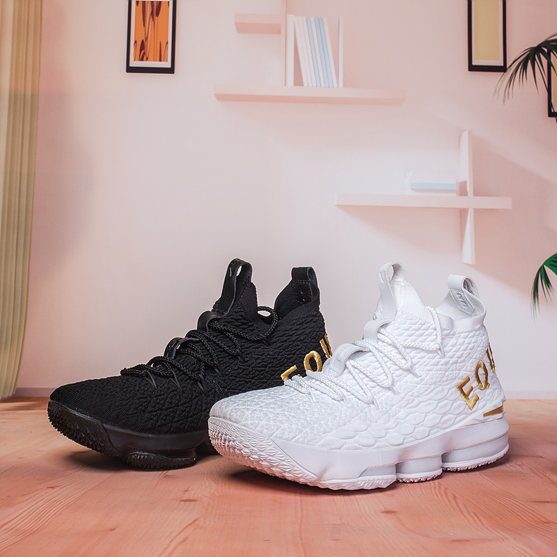 c35ee050e1c Nike Lebron 15 XV White Gold Black Gold Men s Basketball Shoes NIKE ...