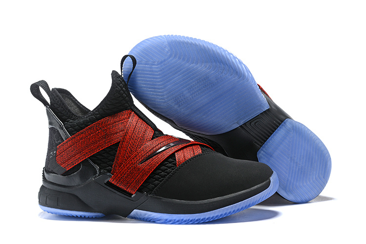 096355eba882 Nike LeBron Soldier 12 Black Red Straps Men s Basketball Shoes NIKE ...