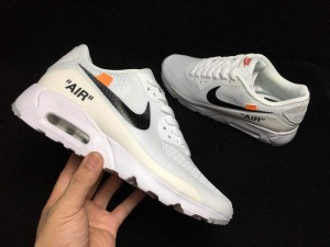 low priced b0fa7 b5391 Off-White Nike Air Max 90 White Black Orange AA7293 104 Men s Casual Shoes  Sneakers