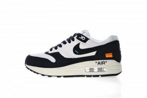 59c73262014905 OFF white x Nike Air Max 1 White Black Orange AJ9986 109 Women s Men s  Casual Shoes