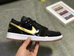 Air Jordan 1 Low Gg Patent Leather Black Metallic Gold White 554723 032  Womens Mens Athletic e4d7d910a4
