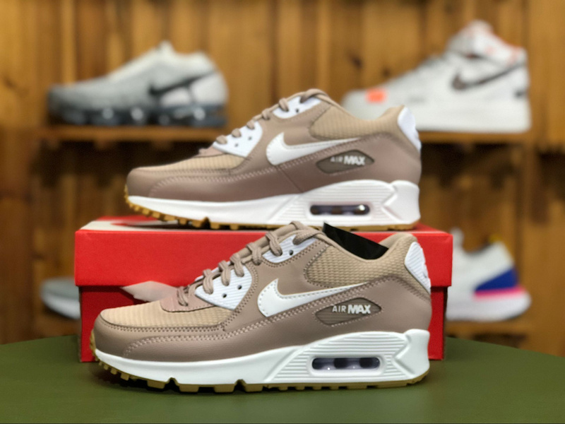 online store b7cb2 94ea2 Nike Air Max 90 W Taupe White Light Brown 325213 210 Women's Casual Shoes  Sneakers 325213-210