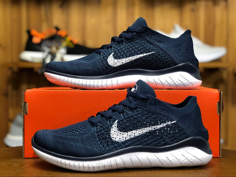 61d71ca8ff3c8 Nike Free RN Flyknit 2018 College Navy Squadron White 942838 400 Men s ...