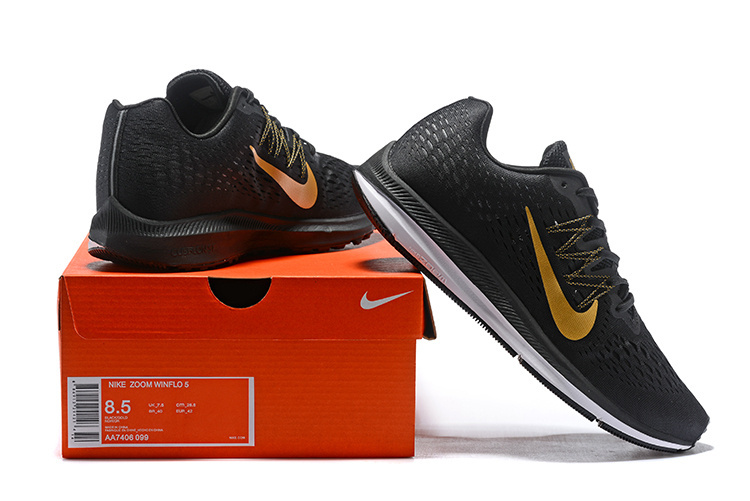 brand new 557d0 c2b5b Nike Air Zoom Winflo 5 Black Gold White AA7406 099 Men's Casual Shoes  Sneakers AA7406-099