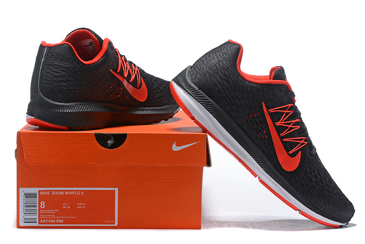 01ac30363166 Nike Air Zoom Winflo 5 Black Red White AA7406 089 Men s Casual Shoes ...
