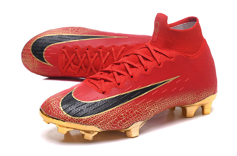 hot sales 95056 d02d5 Nike Mercurial Superfly VI Flyknit 360 Elite FG Bright Red Gold Men's  Soccer Cleat Shoes NIKE-ST003991