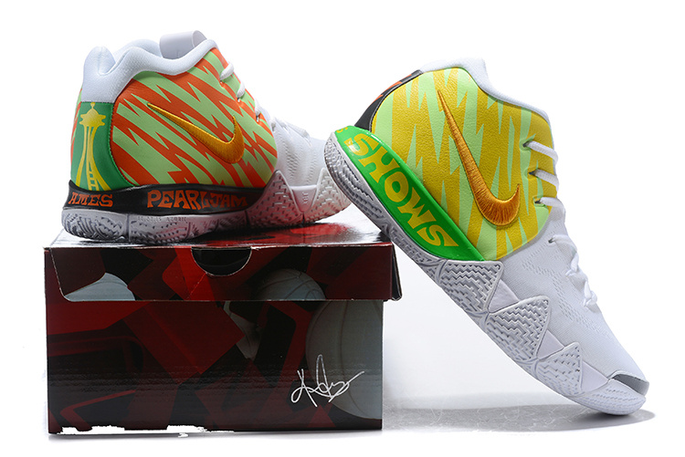 newest 3d020 d04db Nike Kyrie 4 White Volt Yellow Gold Men's Basketball Shoes NIKE-ST003846