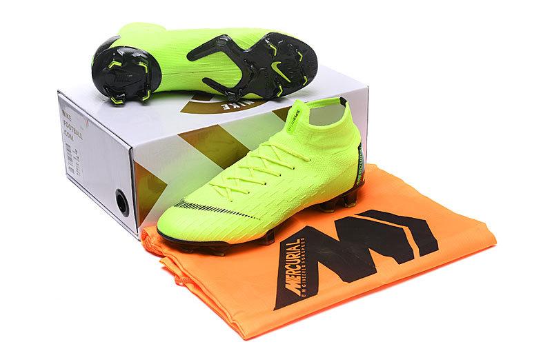 low priced 182e9 e34d1 Nike Mercurial Superfly VI Flyknit 360 Elite FG Green Black Men's ...