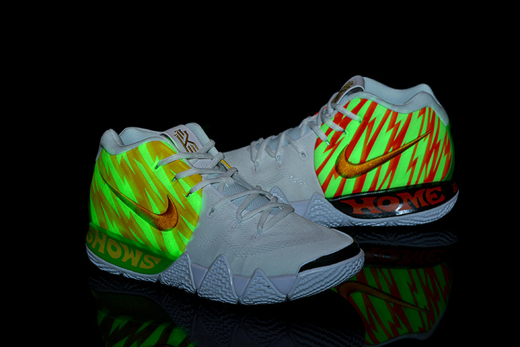newest 7ee62 01717 Nike Kyrie 4 White Volt Yellow Gold Men's Basketball Shoes NIKE-ST003846