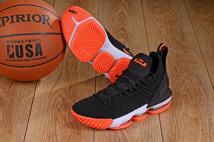 97655a2852c Nike LeBron 16 Black Orange White Men s Basketball Shoes NIKE ...