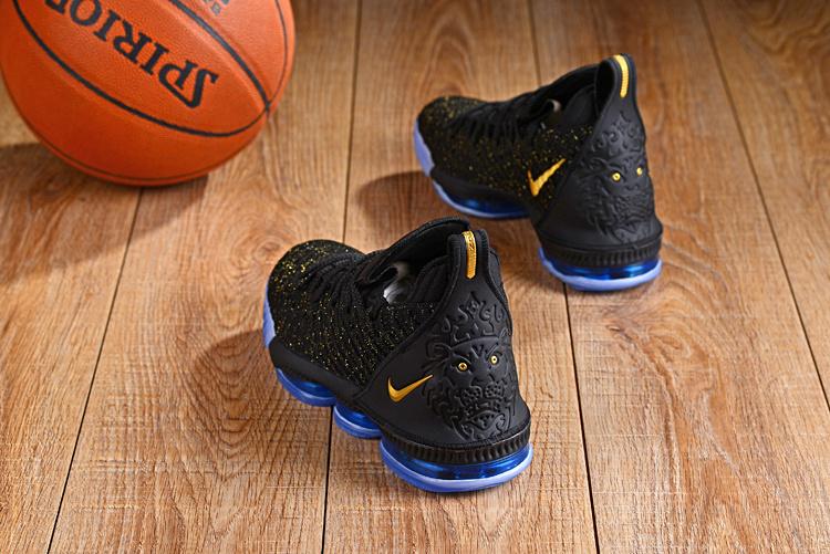 best service 1a714 83fc6 Nike LeBron 16 Black Gold Blue Men's Basketball Shoes NIKE-ST003791