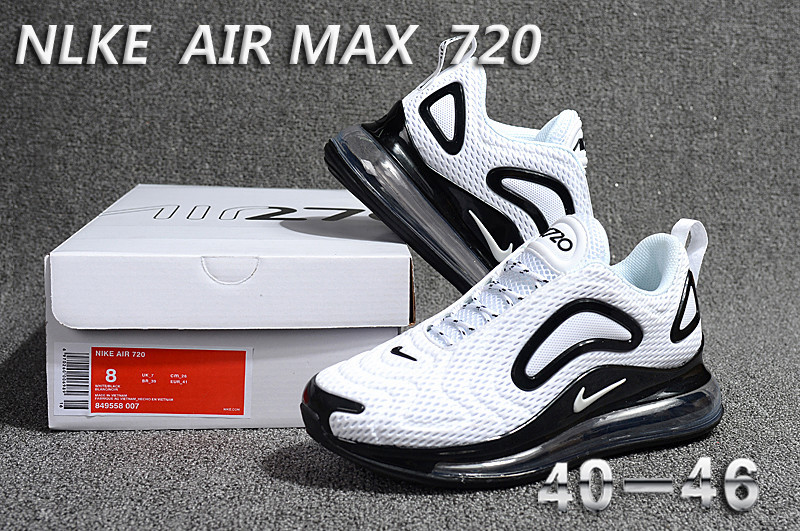 8990e3b4a0fa21 Nike Air Max 720 KPU White Black 849558 007 Men s Casual Shoes ...