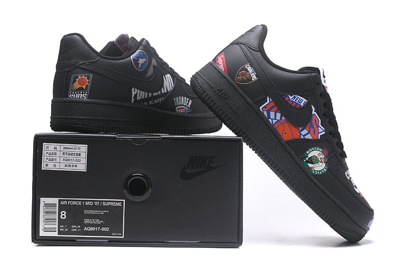 the best attitude 1d206 1dccc Women's Men's Supreme x NBA x Nike Air Force 1 AF1 Low Graffiti Black  AQ8017 002 Casual Shoes Sneakers AQ8017-002
