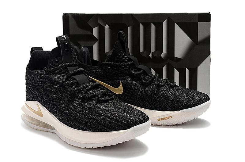 new product 69365 c5217 Nike LeBron 15 Low EP Black Metallic Gold AO1756 001 James Men s Basketball  Shoes