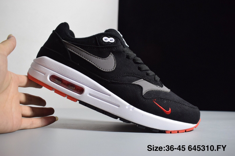 size 40 73175 72a0a Nike Air Max 1 Mini Swoosh Bred Black Oil Grey University Red Sail 875844  007 Women s