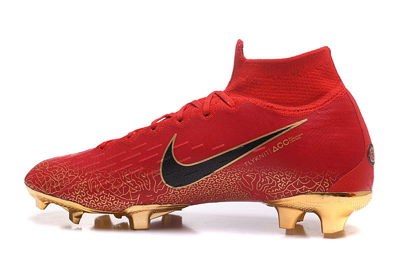 6346d0926b5b90 Nike Mercurial Superfly VI Flyknit 360 Elite FG Bright Red Gold Men s  Soccer Cleat Shoes