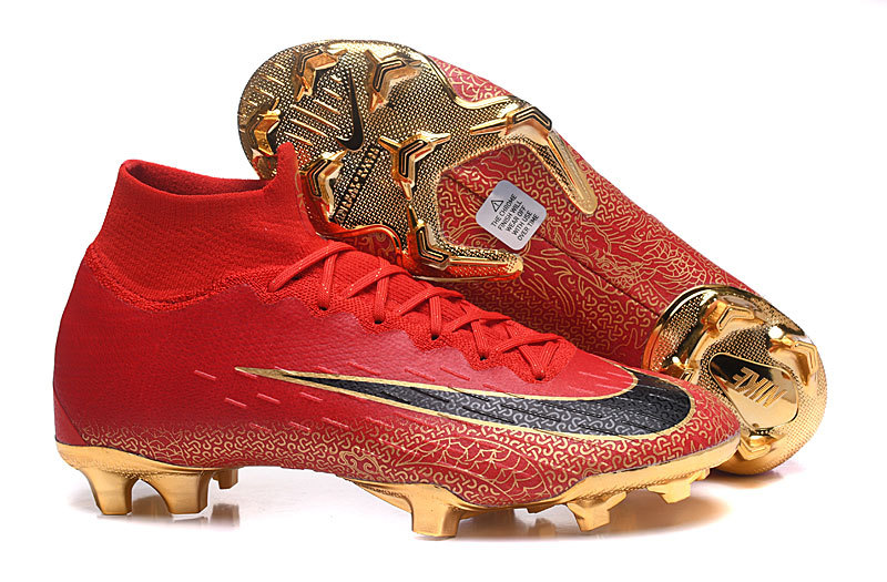 f860c49cd16e Nike Mercurial Superfly VI Flyknit 360 Elite FG Bright Red Gold Men's  Soccer Cleat Shoes