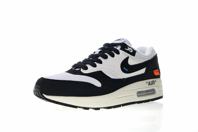 66dd317cf8 OFF white x Nike Air Max 1 White Black Orange AJ9986 109 Women's Men's  Casual Shoes