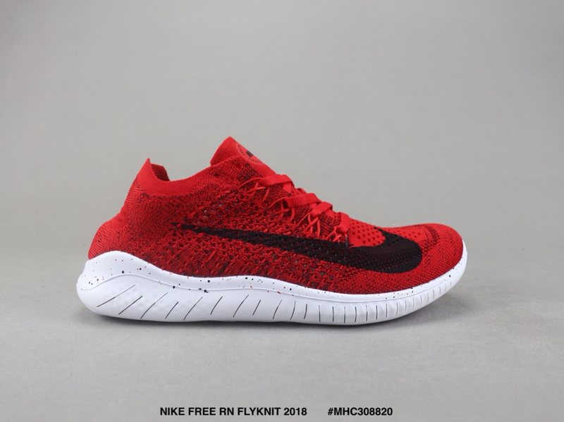 1756432062b70 Nike Free RN Flyknit 2018 Bright Red Black White Women s Men s Running Shoes