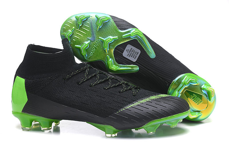 detailed look 737dc d1e52 Nike Mercurial Superfly VI Flyknit 360 Elite FG Black Green Men s Soccer  Cleat Shoes