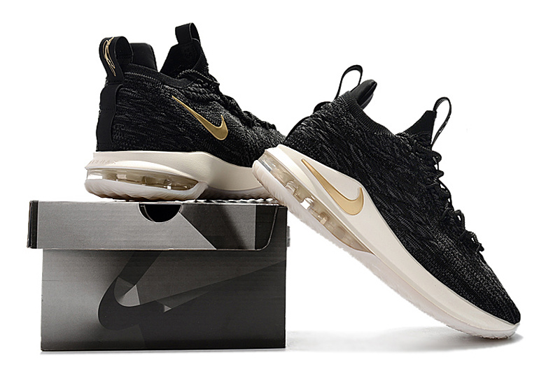 3d27125966c Nike LeBron 15 Low EP Black Metallic Gold AO1756 001 James Men s Basketball  Shoes AO1756-001
