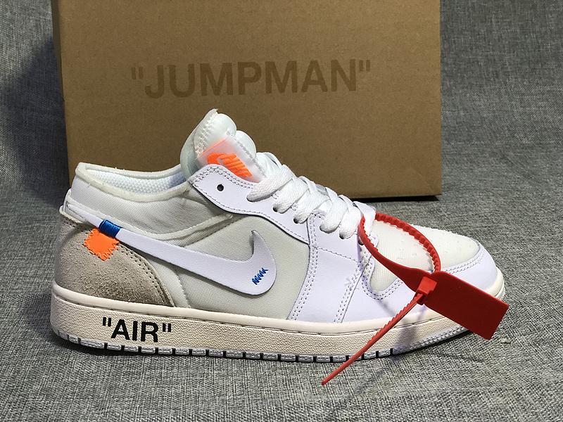 super popular da128 70eeb Off-White x Air Jordan 1 Low Custom White Womens Mens Athletic Basketball  Shoes NIKE-ST003910
