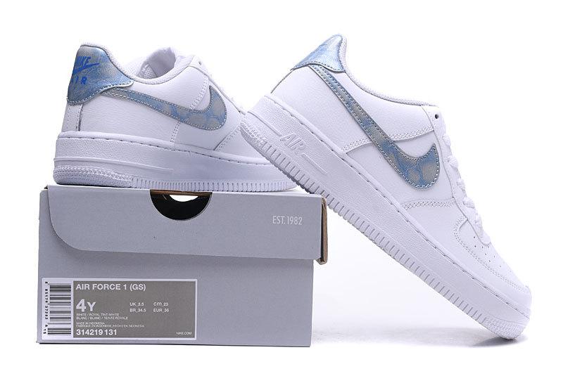 Women s Men s Nike Air Force 1 GS White Royal Tint 314219 131 Casual ... 902824ebd