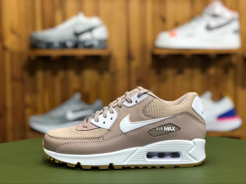 ee4844eebc Nike Air Max 90 W Taupe White Light Brown 325213 210 Women's Casual Shoes  Sneakers