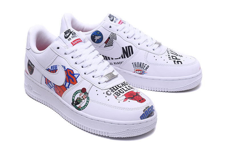 more photos 1ffa7 d30bf Women's Men's Supreme x NBA x Nike Air Force 1 AF1 Low Graffiti White  AQ8017 101 Casual Shoes Sneakers AQ8017-101