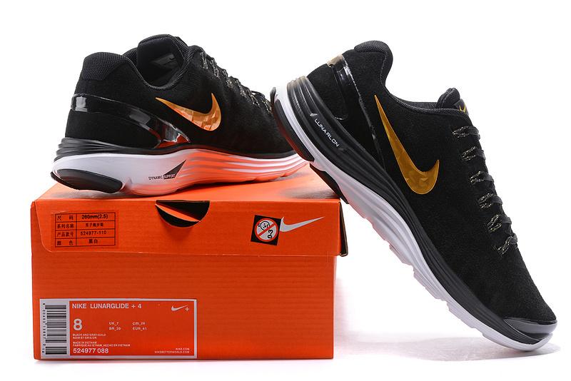 vente chaude en ligne da9a4 47490 Nike LunarGlide + 4 Black Metal Gold White 524977 088 Men's Casual Shoes  524977-088