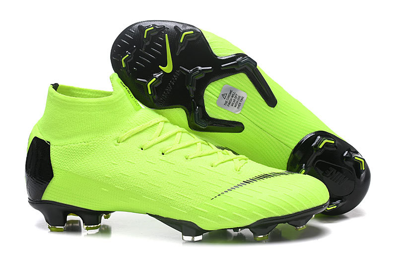 f5b4de0b0 Nike Mercurial Superfly VI Flyknit 360 Elite FG Green Black Men s Soccer  Cleat Shoes
